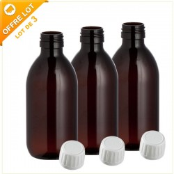 Lot de 3 flacons en verre brun 250ML