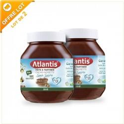 Lot de 2x Pâte à Tartiner Sans Sucres Ajoutés Cacao Noisettes, 2x350g - Atlantis
