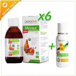 Pack aide minceur, Lot de 6x Vinaigres de FB+Huile de massage anti-cellulite - Tunisia Agroline