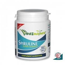 Spiruline de Tunisie - Cure de 1 mois (1 boite de 180 gélules) - VivezNature